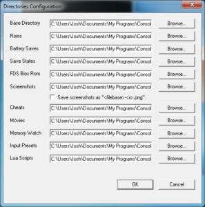 FCEUX - Directories Configuration