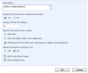 Settings for the Enhanced rich text column