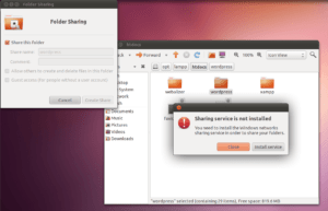 Screenshot of window prompt to install the sharing service.