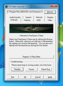 Screenshot of the FS2 Open Launcher welcome screen.
