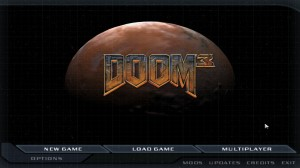 The Doom 3 main menu still uses lower resolution graphics when a custom resolution is set. My monitor stretches the image to fill the entire screen, but you can see that it looks a bit fuzzy due to the upscaling.