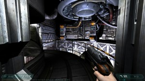 One of the many corridors you'll walk through in Doom 3.