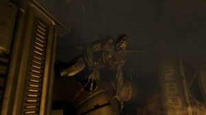 Screenshot of the first Imp encounter in Doom 3 running in widescreen.