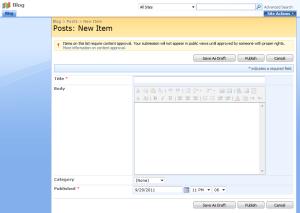 Screenshot of standard SharePoint 2007 list form