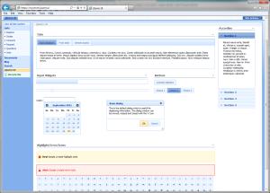 Screenshot of jQuery UI widgest in SharePoint 2007