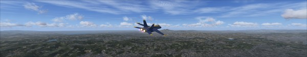 Screenshot of exterior view with fixed FOV in FSX using Eyefinity