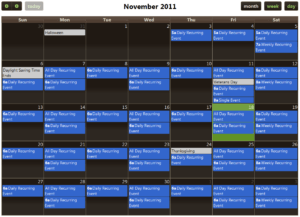 Screenshot of a Fullcalendar demo page.