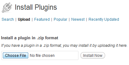Screenshot of page to upload a plugin.