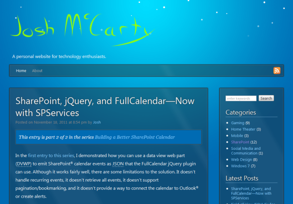 Screenshot of joshmccarty.com with jSnow activated.