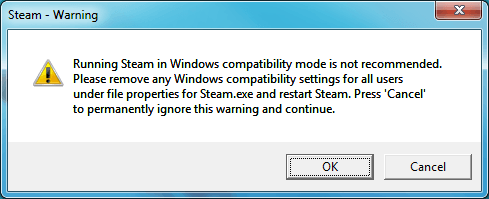 Screenshot of Windows 7 compatibility warning when starting steam.exe