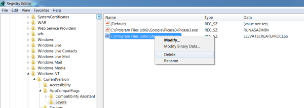 Screenshot of the context menu for the registry entry with the delete option selected.