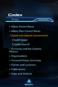 Screenshot of Mass Effect 3 Datapad Codex
