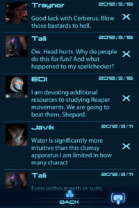 Screenshot of Mass Effect 3 Datapad messages