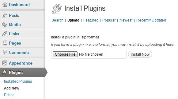 Screenshot of plugin upload page