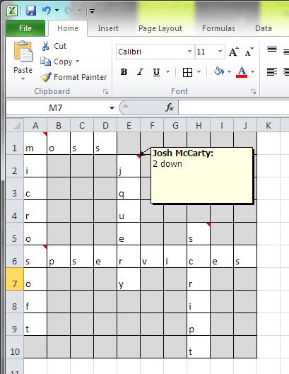 Screenshot of crossword mockup in excel
