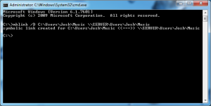 Screenshot of command prompt to create a symbolic link