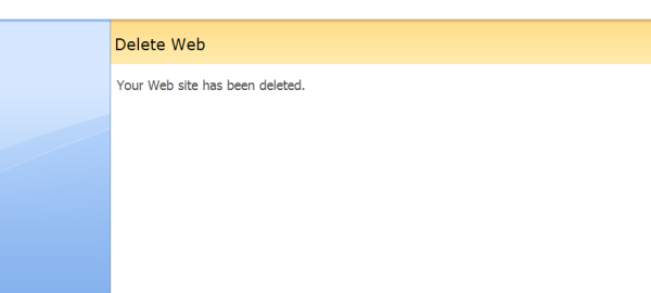 Screenshot of SharePoint website deleted