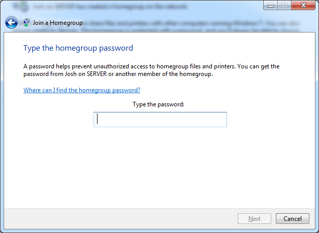 Windows will prompt you for the homegroup password when it detects a homegroup and connects to it.