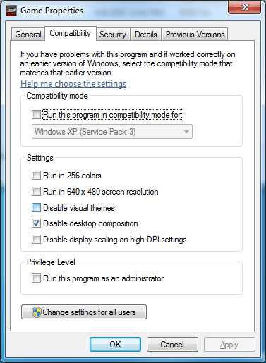 Disable desktop composition for Game.exe in Spider-man 3