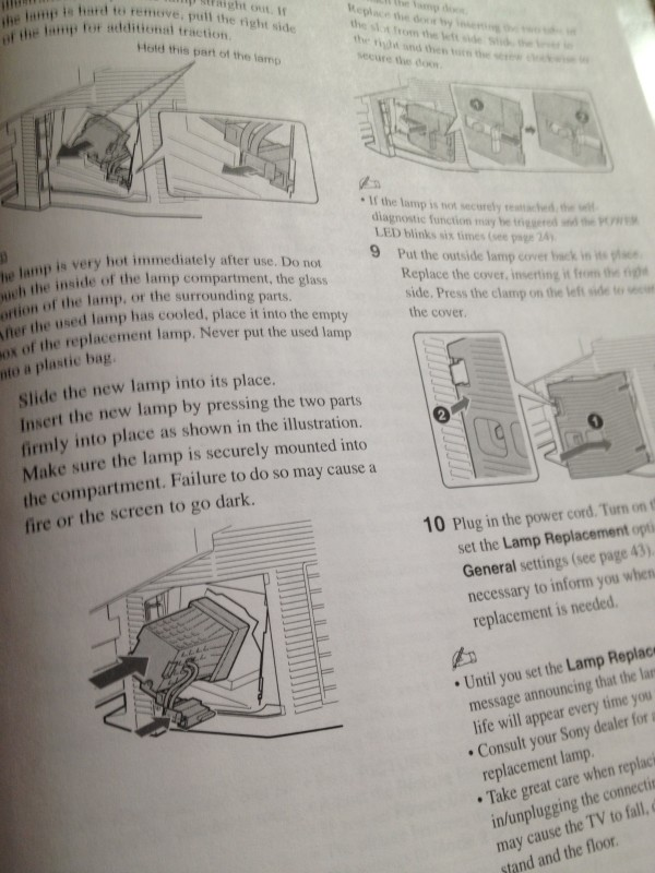 Lamp replacement instructions.