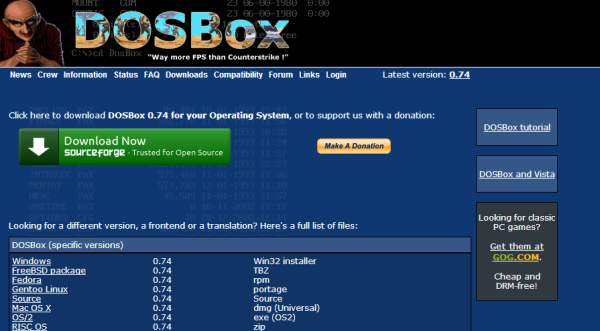 Screenshot of the DOSBox download page.