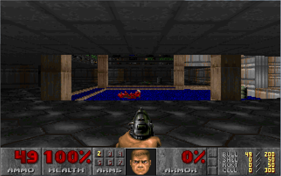 Screenshot of DOOM using hq3x scaling in DOSBox.