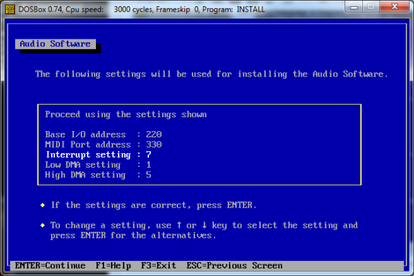Screenshot of Interrupt setting changed to 7.