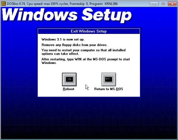 Screenshot of Windows setup complete.