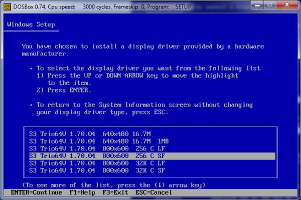 Screenshot of driver selection screen.
