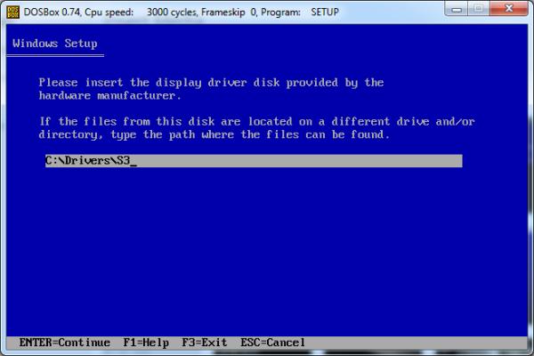 Screenshot of S3 file path in Windows Setup.