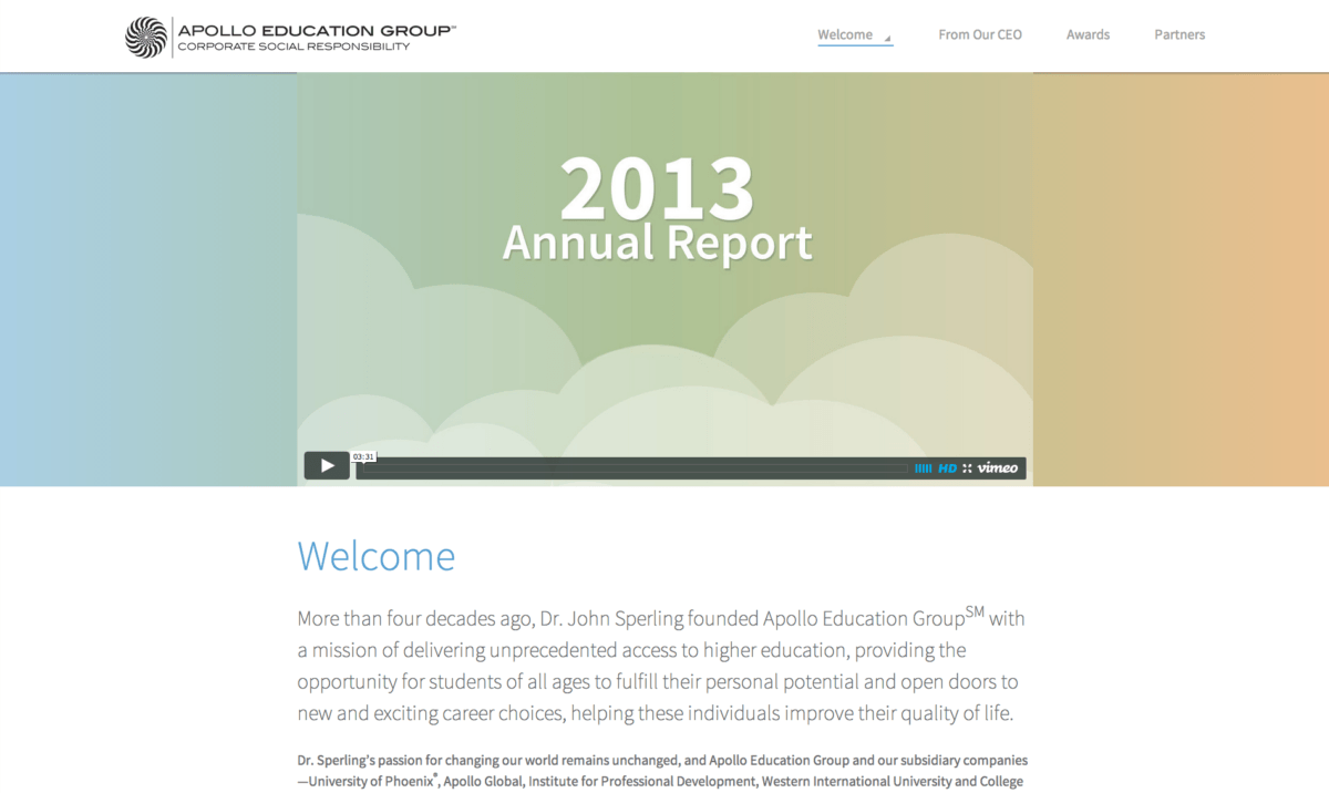 Screenshot of csrreport.apollo.edu home page.