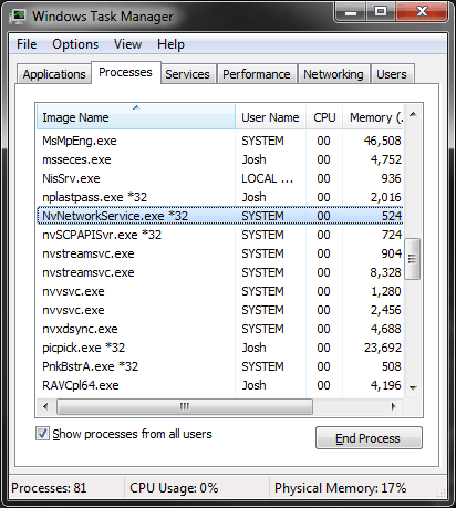 Screenshot of Task Manager showing the NVNetworkService.exe process.