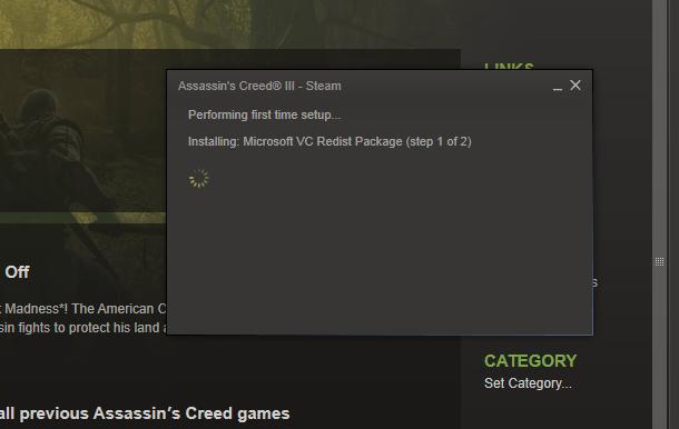 Screenshot of Steam installing VC Redist