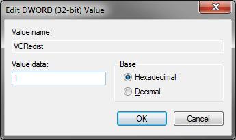 Screenshot of new registry entry value.