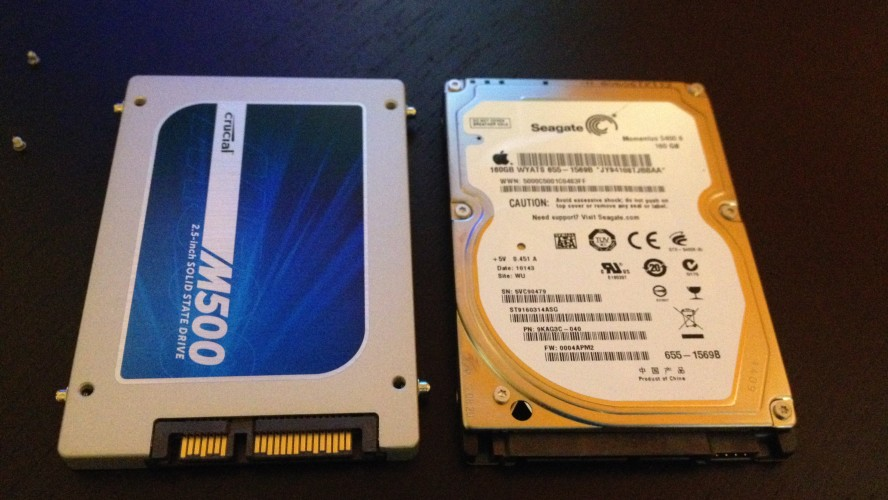 The SSD sure looks pretty next to that old hard drive.