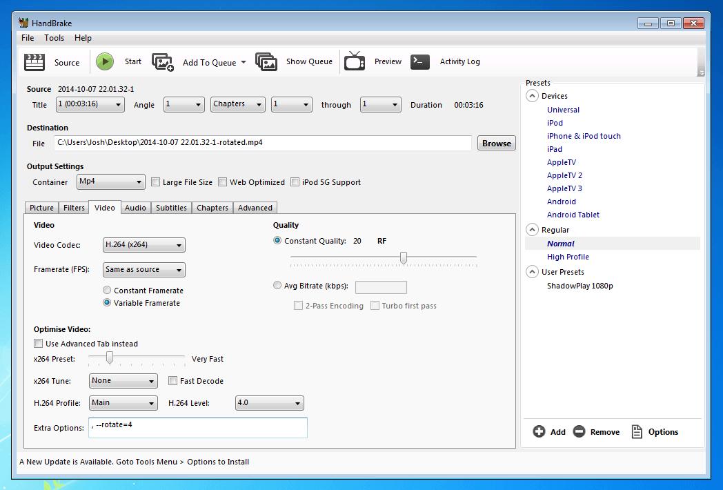 Screenshot of HandBrake video tab.