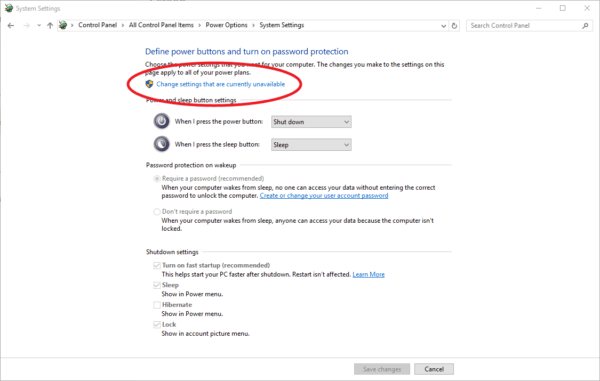 Screenshot of Windows 10 change power settings unavailable