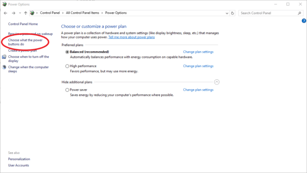 Screenshot of Windows 10 choose what power buttons do
