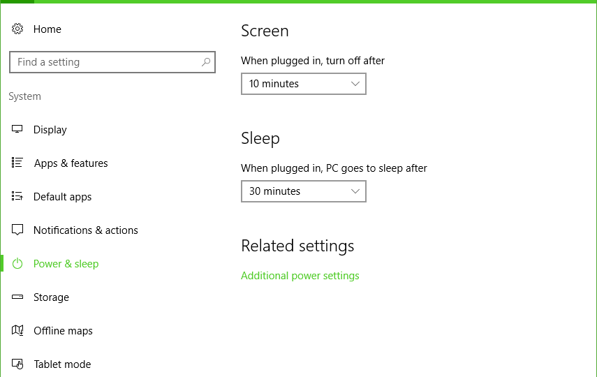 Screenshot of Windows 10 Power Settings
