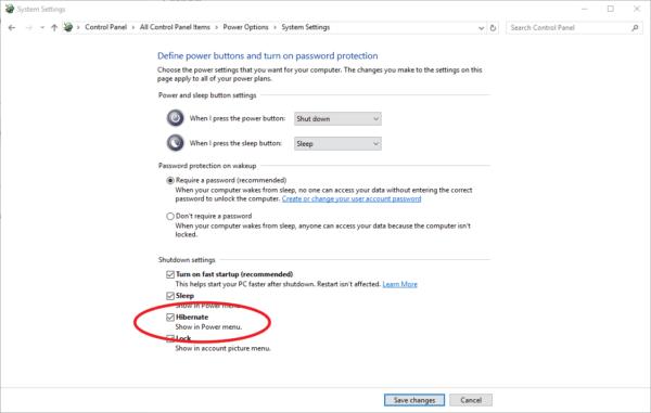 Screenshot of Windows 10 show hibernate